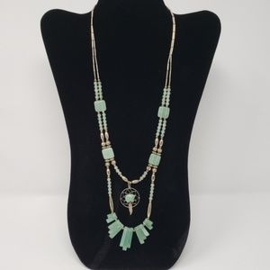 Silver & Green 2-Strand Necklace w/ Dreamcatcher